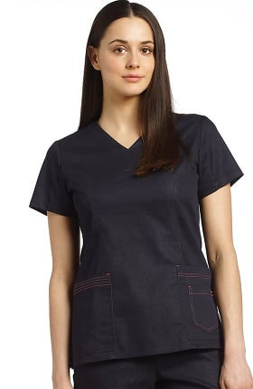 Allure by White Cross Women's V-Neck Layered Pocket Denim Scrub Top