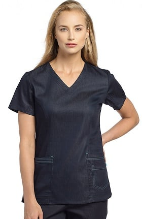 White Cross Women's V-Neck Solid Scrub Top