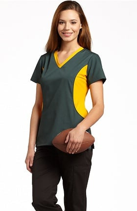 Clearance Allure by White Cross Women's Stretch Side Football Team Colors Solid Scrub Top
