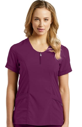 Fit by White Cross Women's Scoop Zip Neck Solid Scrub Top