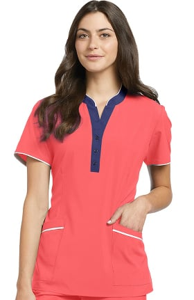 Fit by White Cross Women's Contrast Henley Button V-Neck Solid Scrub Top