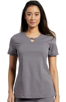 Fit by White Cross Women's Gigi V-Neck Clasp Solid Scrub Top