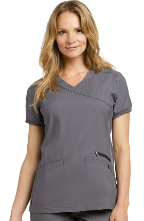 Oasis by White Cross Women's Mock Wrap Stretch Side Solid Scrub Top