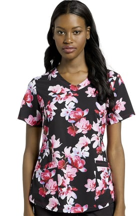 Marvella by White Cross Women's Orchid Garden Print Scrub Top