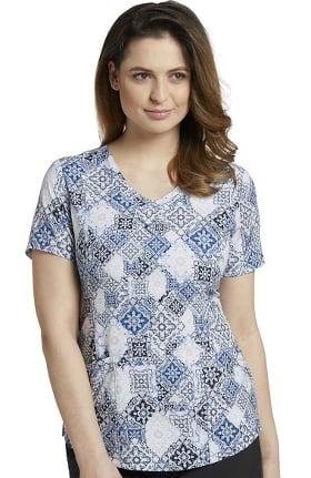 Marvella by White Cross Women's Rounded V-Neck Vintage Baroque Print Scrub Top