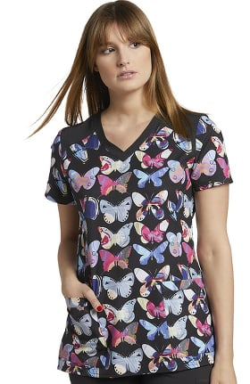 Fit by White Cross Women's V-Neck Butterfly Art Print Scrub Top