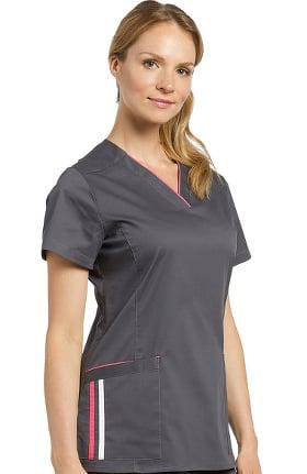 Allure by White Cross Women's V-Neck Contrast Stripe Solid Scrub Top