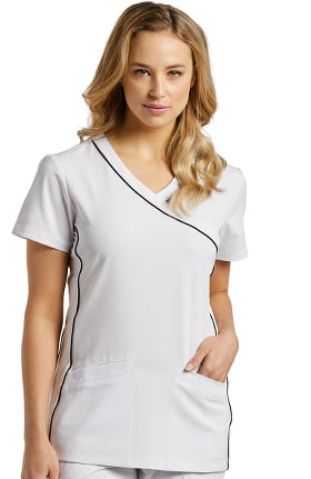 Marvella by White Cross Women's V-Neck Contrast Piping Solid Scrub Top