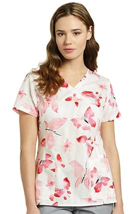 White Cross Women's Mock Wrap Floral Print Scrub Top