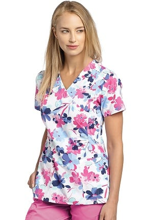 Clearance Allure by White Cross Women's Mock Wrap Floral Print Scrub Top