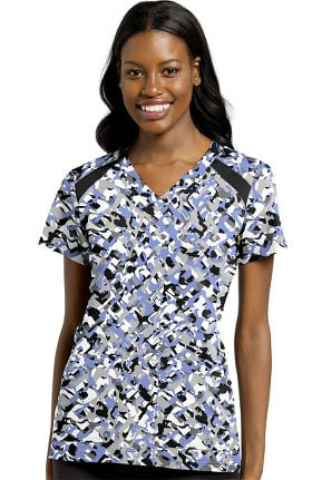 Clearance Fit by White Cross Women's Geo Trellis Print Scrub Top