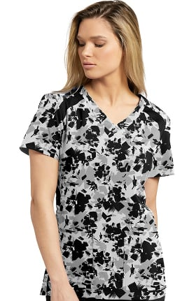 Fit by White Cross Women's V-Neck Abstract Print Scrub Top
