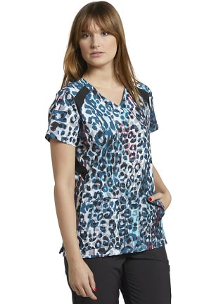 Clearance Fit by White Cross Women's V-Neck Wild Sides Print Scrub Top
