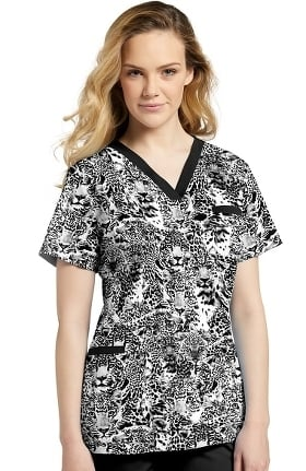 Allure by White Cross Women's V-Neck Animal Print Scrub Top