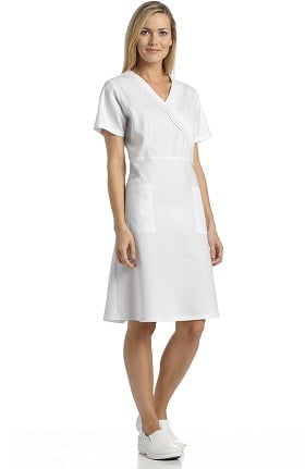White Cross Women's Pleated Mock Wrap Scrub Dress