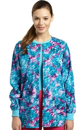 Allure by White Cross Women's Abstract Print Warm Up Scrub Jacket