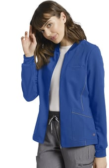 V.Tess by White Cross Women's Patch Pocket Zip Up Solid Scrub Jacket