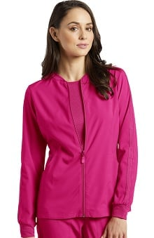 Fit by White Cross Women's Zip Front Mesh Detail Solid Scrub Jacket