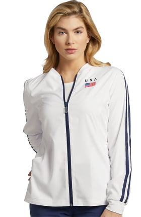 Fit by White Cross Women's Sporty USA Solid Scrub Jacket