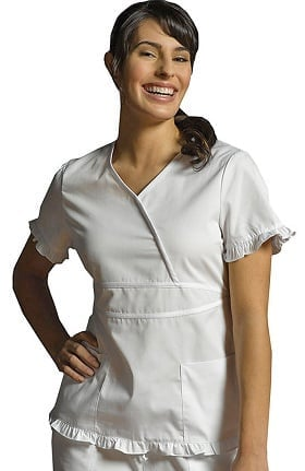 Marvella by White Cross Women's Contrast Ruffle Mock Wrap Solid Scrub Top