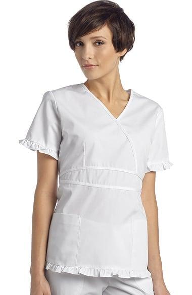 White Cross Women S Contrast Ruffle Mock Wrap Solid Scrub