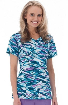 Clearance Bio Womens Overlap V-Neck Abstract Print Scrub Top