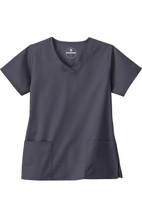 Clearance Fundamentals by White Swan Women's 3 Pocket V-Neck Solid Scrub Top
