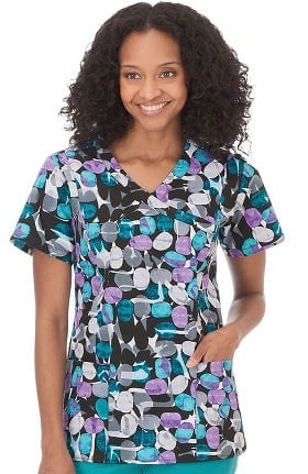 Clearance Bio Women's Mock Wrap Abstract Print Scrub Top