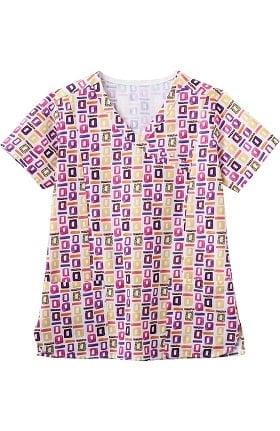 Bio Women's Mock Wrap Geometric Pop Art Purple Print Scrub Top