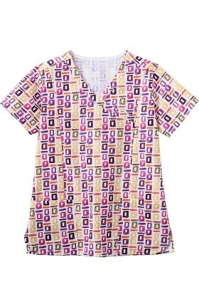 Clearance Bio Women's Mock Wrap Geometric Pop Art Purple Print Scrub Top