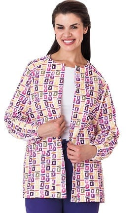 Clearance Bio Women's Geometric Pop Art Purple Print Warm Up Jacket