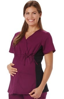 F3 Fundamentals by White Swan Women's Maternity Mock Wrap Solid Scrub Top