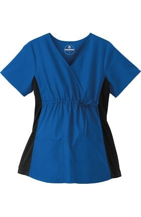 Clearance F3 Fundamentals by White Swan Women's Maternity Mock Wrap Solid Scrub Top