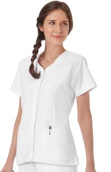 F3 Fundamentals by White Swan Women's Snap Front Solid Scrub Top