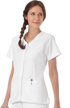 Clearance F3 Fundamentals by White Swan Women's Snap Front Solid Scrub Top