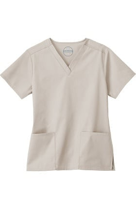 Clearance F3 Fundamentals by White Swan Women's 2 Pocket V-Neck Solid Scrub Top