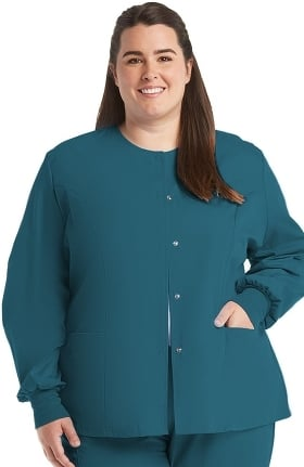 Clearance F3 Fundamentals by White Swan Women's Snap Front Warm Up Solid Scrub Jacket