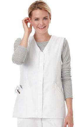 F3 Fundamentals by White Swan Women's Twill Button Front Solid Scrub Vest