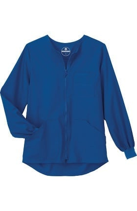 Clearance Fundamentals by White Swan Unisex Zip Front Warm Up Solid Scrub Jacket