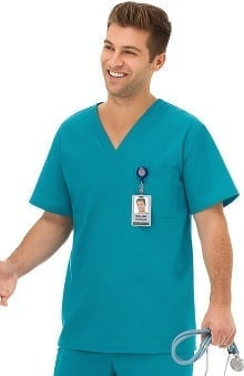 F3 Fundamentals by White Swan Unisex V-Neck Solid Scrub Top