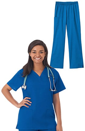 F3 Fundamentals by White Swan Women's V-Neck Solid Scrub Top & Elastic Waistband Scrub Pant Set