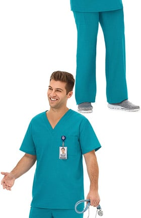 F3 Fundamentals by White Swan Unisex V-Neck Solid Scrub Top & Drawstring Scrub Pant Set