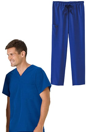 Classic Fit Collection by Jockey® Unisex V-Neck Solid Scrub Top & Drawstring Scrub Pant Set