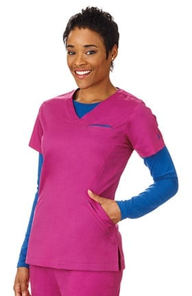 Bio Women's Angle V-Neck Solid Scrub Top