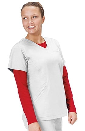 Clearance Bio Women's Angle V-Neck Solid Scrub Top