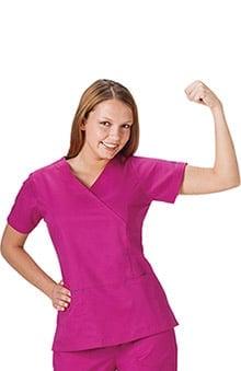 Bio Women's Mock Wrap Solid Scrub Top