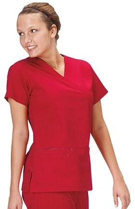 Clearance Bio Women's Mock Wrap Solid Scrub Top