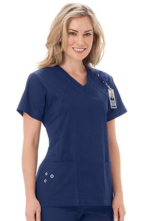 Clearance Bio Women's V-Neck Grommet Detail Solid Scrub Top