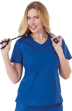 Bio Women's Sporty V-Neck Solid Scrub Top