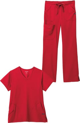 Classic Fit Collection by Jockey® Women's Side Panel V-Neck Solid Scrub Top & Drawstring Cargo Scrub Pant Set